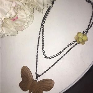 Lucky Brand butterfly flower layer necklace